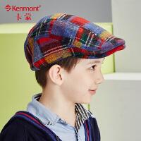 kenmont儿童帽子秋冬韩版潮男童鸭舌帽格子贝雷帽冬天毛呢童帽5861