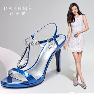 【明星同款】Daphne/达芙妮 夏  超高跟水钻一字扣露趾女凉鞋