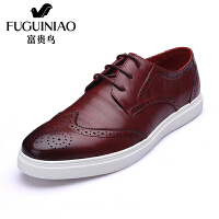 富贵鸟 年新品男鞋系带英伦布洛克雕花休闲鞋平底休闲皮鞋