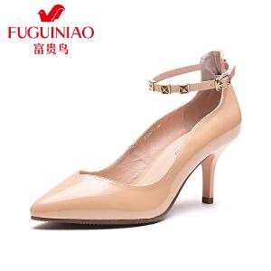 富贵鸟 年春季新品 新潮尖头一字式扣带女单鞋优雅酒杯跟女鞋子