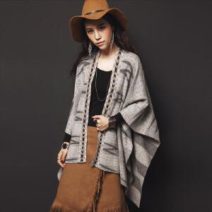 【9.21超级品牌日】七格格 民族风几何图案 两用披肩毛针织衫 女