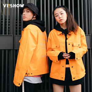【情侣款】viishow秋季新款情侣装男女上衣韩版时尚亮色夹克外套jacket