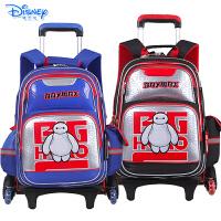 迪士尼大白小学生卡通双肩书包三轮可爬楼拉杆包配送防雨罩IB0014