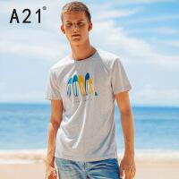 以纯线上品牌a21 夏装新款纯棉短袖T恤男 时尚运动潮流印花青年T恤舒适百搭上衣