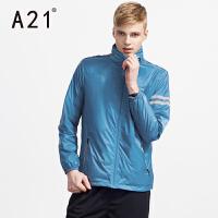 以纯A21男士连帽运动风衣男 青少年简约时尚上衣休闲条纹薄外套春季潮