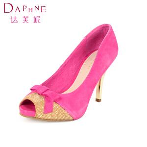 Daphne/达芙妮休闲高跟细跟鱼嘴蝴蝶结女单鞋1014102189