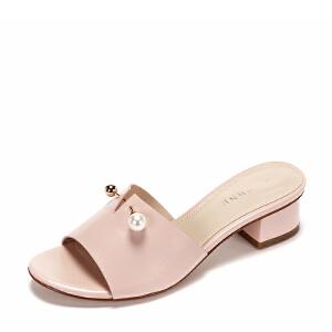 Daphne/达芙妮2017夏休闲平底露趾粗跟凉鞋 个性金属装饰套脚女鞋