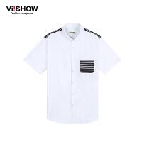 viishow夏装新款短袖衬衫 欧美简约时尚衬衫短袖男 白色棉