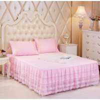 晚歌WANGE家纺蕾丝床裙小清新系列双人床单件床罩席梦思防尘罩安娜花园1.5米1.8米
