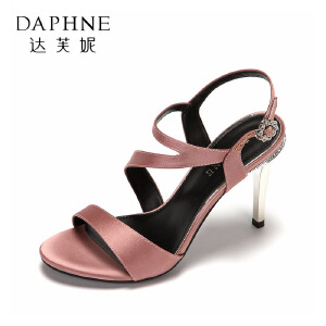 Daphne/达芙妮2017新品性感超高跟浅口女鞋 时尚水钻搭扣细跟婚鞋