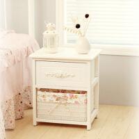 家逸 韩式田园一木多斗式床头柜 简约时尚床边柜 白色组合多斗柜 宜家实木床头柜子 儿童玩具收纳储物箱