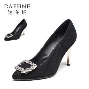 Daphne/达芙妮  女单鞋婚鞋方扣细跟高跟鞋10 404002