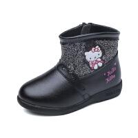 hellokitty童鞋女童靴子宝宝鞋儿童短靴冬季新款加绒大棉保暖K6480DD906