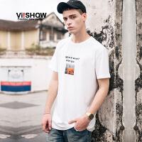 VIISHOW2017夏装新品字母印花休闲短袖T恤男纯棉白色套头男士短t