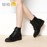 shoebox鞋柜秋冬潮款女鞋 欧美尖头系带平底短靴骑士靴1115505023