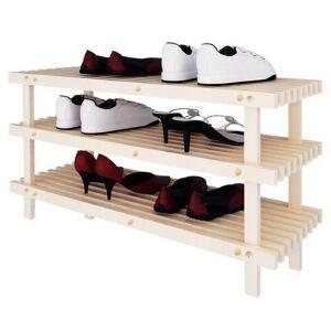 [当当自营]慧乐家 松木三层鞋架33003 本色 鞋柜 收纳置物架子