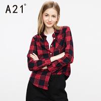 以纯A21女装秋装新款长袖衬衣女 休闲简约百搭立领格子衬衫时尚上衣潮
