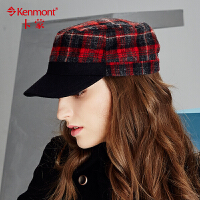 冬季帽子女毛呢平顶帽韩版潮秋冬女士军帽格子鸭舌帽保暖棒球帽2424