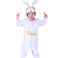 小兔子舞儿童演出服装男 白色连体动物连体衣分体装套装女 小兔子舞蹈服装元旦节白色连体冬