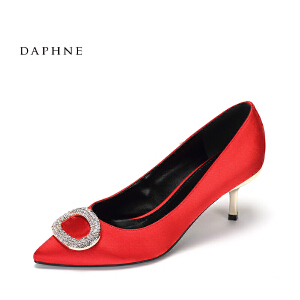 Daphne/达芙妮2017春舒适低跟单鞋 气质尖头金属钻扣细跟正装女鞋