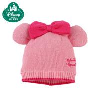 迪士尼宝宝快乐家族蝴蝶结带耳毛线帽 婴儿帽子冬季