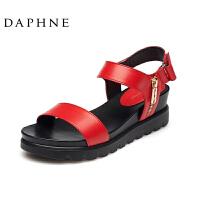 Daphne/达芙妮凉鞋舒适一字面中跟魔术贴坡跟女鞋1515303060