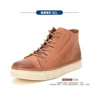 Dickies工装鞋男高帮男鞋夏季圆头英伦风休闲皮鞋男高邦板鞋潮鞋161XG05AP04
