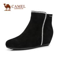 Camel骆驼女鞋 2014秋冬新款时尚优雅羊皮水钻侧拉链内增高短靴子