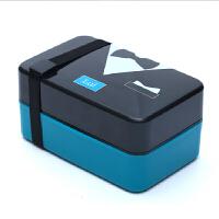 创意学生饭盒可爱便当盒可密封微波情侣配叉勺子双层分格餐盒 墨绿