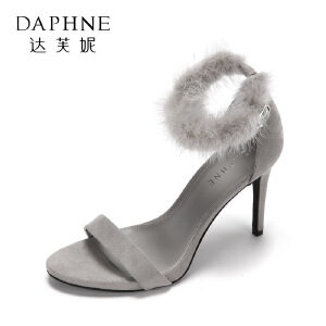 Daphne/达芙妮17欧美时尚超高跟浅口女鞋 性感一字带毛绒细跟凉鞋