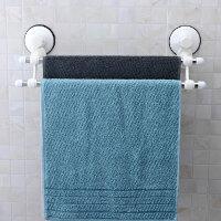 双庆 强力真空吸盘式毛巾架 不锈钢双杆浴巾架 浴室毛巾杆挂杆