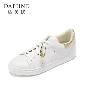 Daphne/达芙妮2017春夏舒适平底小白鞋 时尚圆头金属装饰休闲单鞋