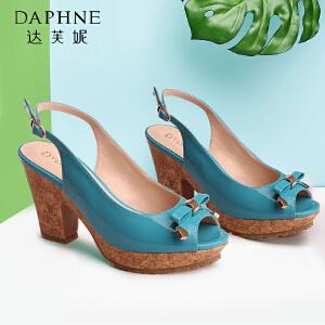 达芙妮优雅夏季女士凉鞋 OL蝴蝶结高跟女鞋木纹粗跟鱼嘴女凉鞋