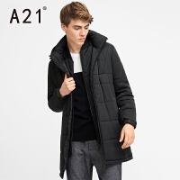 以纯A21男装中长款棉衣外套 秋冬新品舒适活力休闲百搭学生假两件棉衣