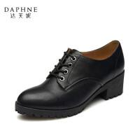 Daphne/达芙妮正品女鞋秋季杜拉拉系列粗跟漆皮英伦学院风单鞋