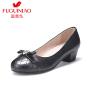 富贵鸟女鞋 秋季新款 粗跟单鞋女 中跟皮鞋女工作鞋