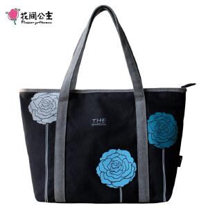 花间公主2017夏款三色花气质韩版女士包包袋帆布包女包大包单肩包手提包