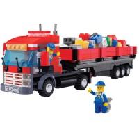 万格拼插塑料拼装积木小人37103大货车模型清仓