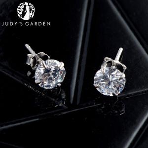 【茱蒂的花园】S925银仿钻镶水晶钻女士时尚耳钉耳环银饰A级合成品锆石送女友老婆情人节礼物纯