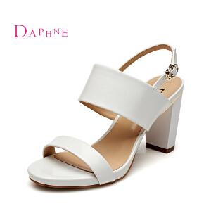 达芙妮夏新简约高跟女鞋 纯色经典一字面露趾粗跟凉鞋