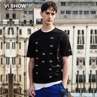 viishow夏装新款短袖T恤 欧美个性潮流短袖男 字母印花T恤潮