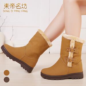 东帝名坊新款欧美时尚雪地靴中筒靴女靴子短靴棉鞋毛毛鞋马丁靴女英伦女鞋22601