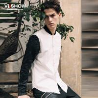 VIISHOW秋冬新款长袖衬衫 衬衫男长袖修身韩版拼接衬衣棒球领 C107153