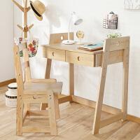 家逸 俄罗斯樟子松木儿童学习桌椅组合 实木书桌防近视纠正坐姿 桌子+椅子套装 高低可调节