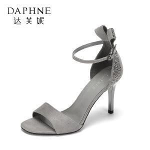 Daphne/达芙妮17复古方头鱼嘴凉鞋 时尚水钻蝴蝶结浅口宴会高跟鞋