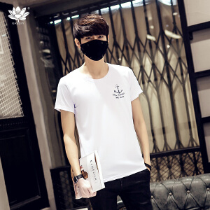 EASZin逸纯印品 男装短袖t恤 男士韩版圆领小鱼勾印花体恤衫 加大码 中青年款