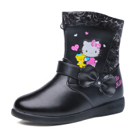 hellokitty童鞋女童棉鞋加绒皮靴新款儿童大棉鞋中筒靴子