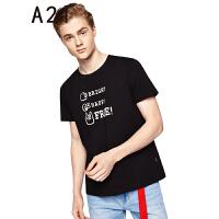 以纯线上品牌a21 2017夏装新款T恤男 时尚舒适印花圆领短袖上衣