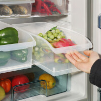 宝优妮冰箱收纳盒长方形水果蔬菜保鲜盒家用干货盒厨房食物储物盒(2只装)
