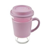 三光云彩glasslock 500ml有柄带盖钢化耐热玻璃水杯含隔热套RC106 紫色